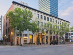 Historical building leased to retail and office tenants. Outdoor view, located in downtown Edmonton