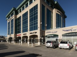 Retail space in Calgary, exterior and architecture of the Crowfoot Business Centre.