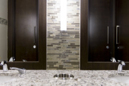 Washroom sinks with mirrors. Beautiful interior design and amenities
