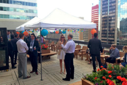 Patio event outside for tenants at the Melton Building, as a part of customer care initiatives